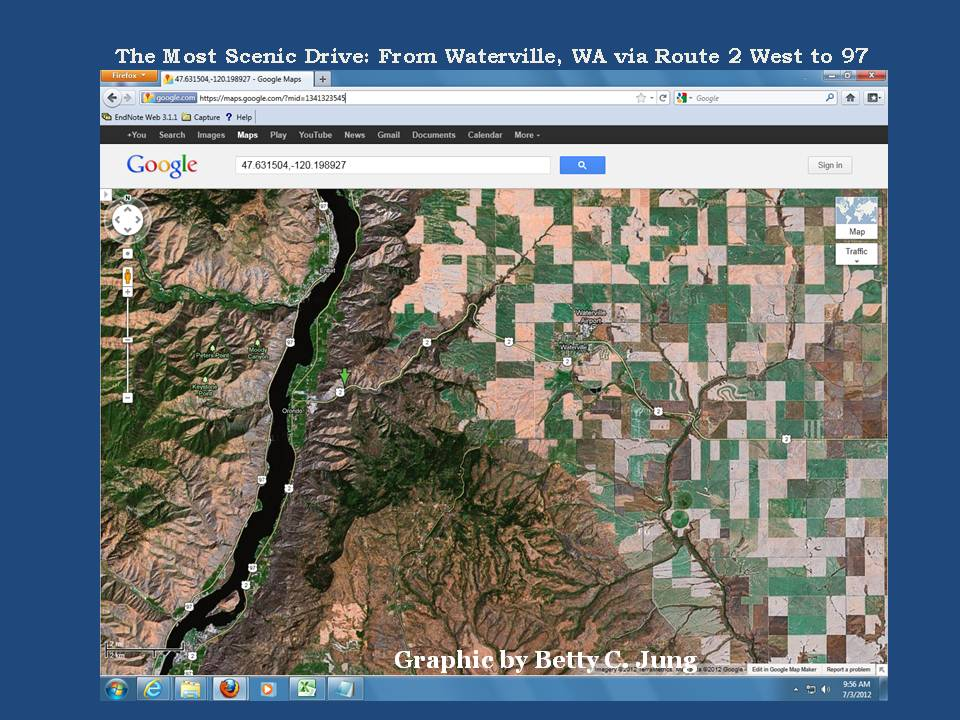 The Most Scenic Drive, Waterville, WA, Route 2 to 97, Graphic by Betty C. Jung