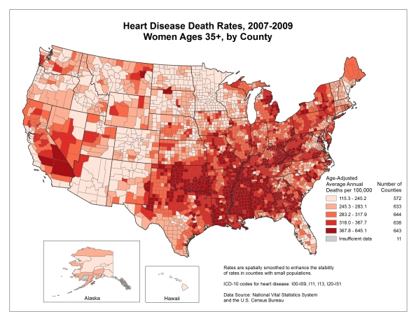 Women and heart disease, CDC, BRFSS data