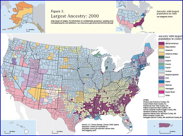 Ancestry Map of the US