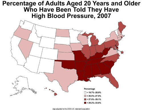 US Prevalence of Hypertension, by location