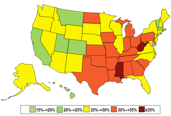 CDC 2013 Obesity Prevalence Map