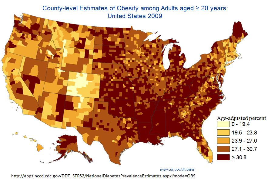 2009 Obesity, by county