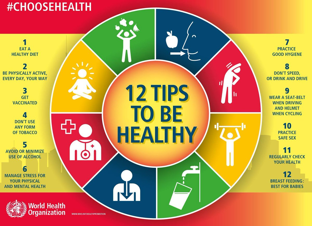 WHO 12 tips to be healhty