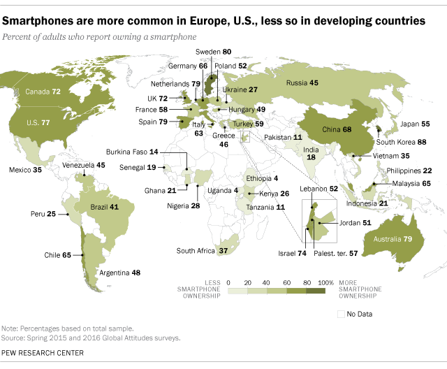 Map of Cellphone use