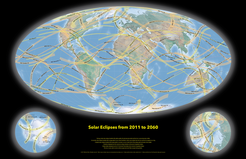 World Map of Solar Eclipses from 2011 to 2060