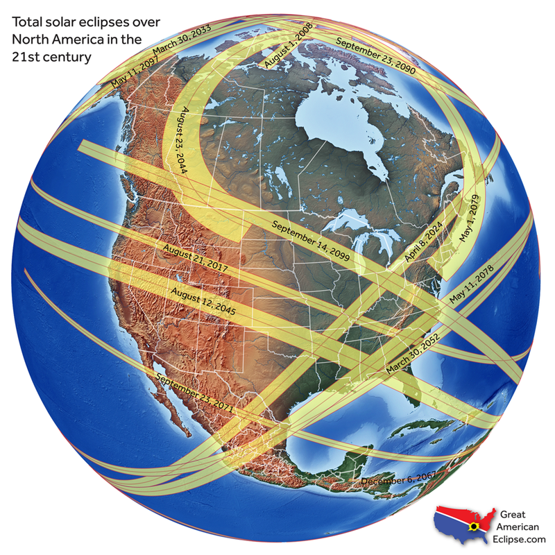 Total Solar Eclipses in North America in the 21st Century