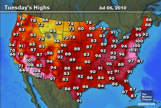July 6, 2010 - worst heat wave day in decades in the US northeast